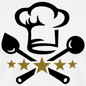 Chef's hat, five stars, cook, kitchen, restaurant Gensere - Premium T-skjorte for menn