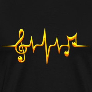 Music, pulse, notes, frequency, clef, bass, sheet T-shirts - Herre premium T-shirt