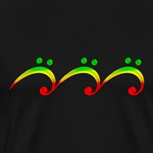 Reggae, music, notes, bass clef, wave, surf,  Camisetas - Camiseta premium hombre