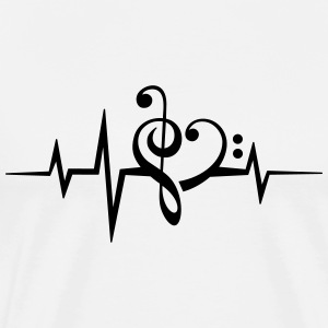 Frequency music notes clef heart pulse bass beat T-Shirts - Men's Premium T-Shirt