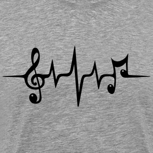 Heart rate pulse music note clef Electro Classic Sweatshirts - Herre premium T-shirt
