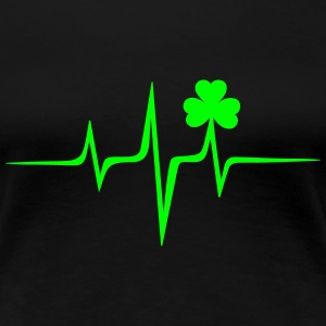 Music heart rate shamrock Patricks Day Irish Folk  - Women's Premium T-Shirt
