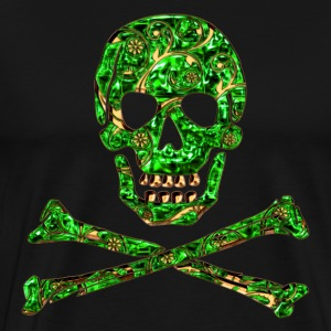 Skull, Emerald, pirate, digital, Crystal Skull T-Shirts - Men's Premium T-Shirt