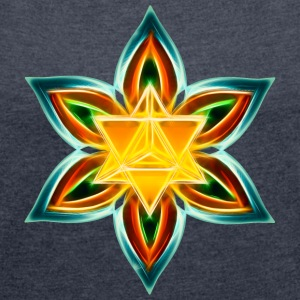 Flower of Life, Merkaba, Spiritual Symbol, Light T-Shirts - Women's T-shirt with rolled up sleeves