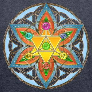 Flower of Life, Merkaba, Chakras, Metatron T-Shirts - Women's T-shirt with rolled up sleeves