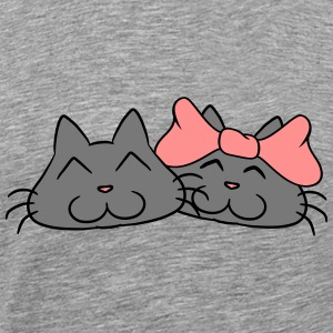 Sweet cute cats couple couples love T-Shirts - Men's Premium T-Shirt