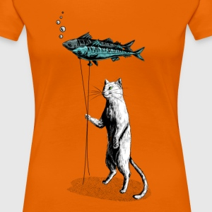 Oranje Cat Balloon T-shirts - Vrouwen Premium T-shirt