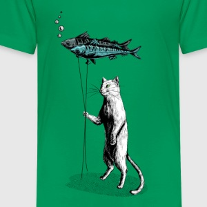 Kelly groen Cat Balloon Shirts - Kinderen Premium T-shirt