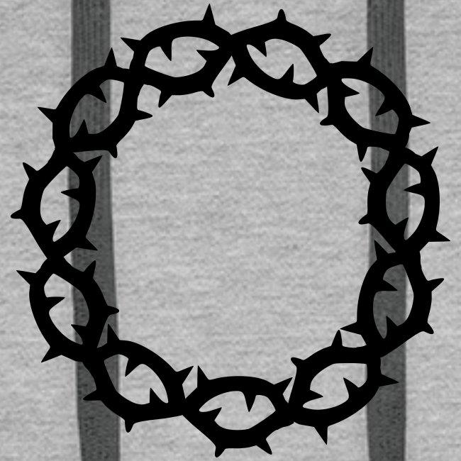 Kapuzenpulli Dornenkrone schwarz (Farbwahl)