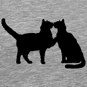 2 kissing cats couple couples love T-Shirts - Men's Premium T-Shirt
