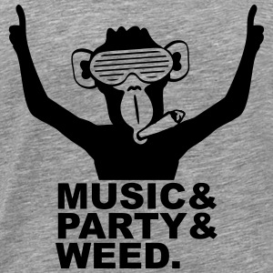 Party DJ Ape Weed Joint Music Fun T-Shirts - Men's Premium T-Shirt