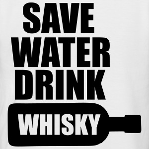 Alcool  Fun Shirt - Save water drink Whisky Tee shirts - T-shirt baseball manches courtes Homme