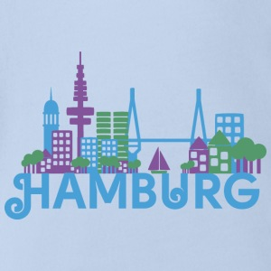 Skyline of Hamburg Baby Bodysuits - Organic Short-sleeved Baby Bodysuit