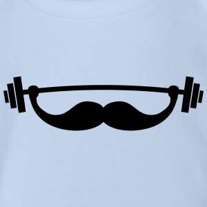 Funny Fitness Mustache / Beard Shirts - Organic Short-sleeved Baby Bodysuit