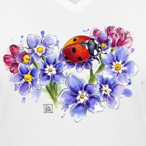 White Ladybird T-Shirts - Women's V-Neck T-Shirt