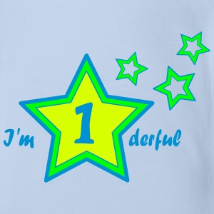 I'm 1derful / I'm wonderful first birthday Shirts - Baby bio-rompertje met korte mouwen