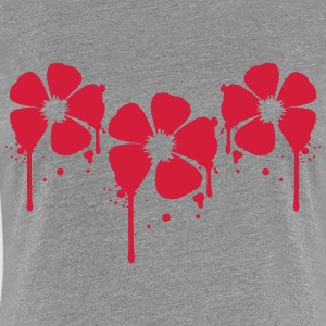 3 Rote Blumen Blut Tropfen Party Graffiti Design T-Shirts - Frauen Premium T-Shirt