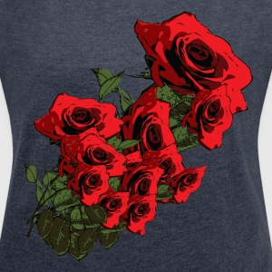Roses Women's T-shirt with rolled up sleeves - Women's T-shirt with rolled up sleeves