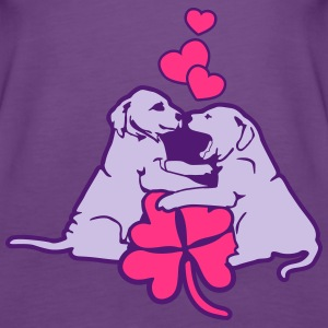 Puppies Puppydogs Dog with Clover and Hearts Tops - Women's Premium Tank Top