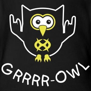 Growling owl Shirts - Organic Short-sleeved Baby Bodysuit