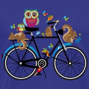 forest animals on a bike  T-Shirts - Men's Premium T-Shirt