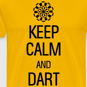 keep calm and darts T-shirts - Herre premium T-shirt