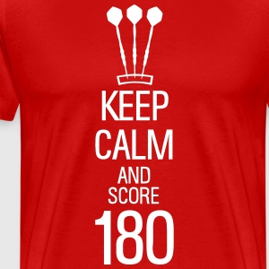 keep calm and score 180 darts T-shirts - Herre premium T-shirt