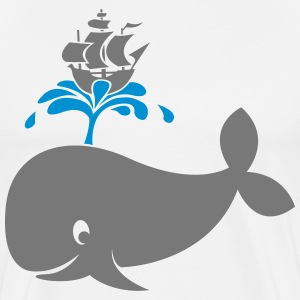 Whale with boat on water fountain T-Shirts - Men's Premium T-Shirt