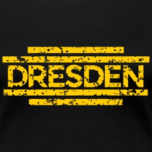 Dresden T-Shirt 20th Used (Damen Schwarz/Gelb) - Frauen Premium T-Shirt