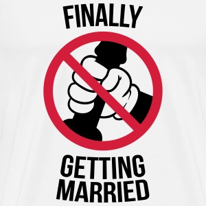 Finally getting married with cock, jerk, wank T-shirts - Herre premium T-shirt