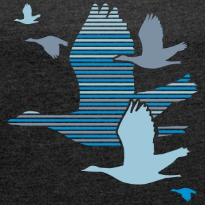 Flight of the Wild Geese T-Shirts - Women's T-shirt with rolled up sleeves
