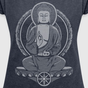 Siddhartha Buddha Halftone T-Shirts - Women's T-shirt with rolled up sleeves