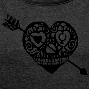 Lady`s Shirt Pirate Heart - Frauen T-Shirt mit gerollten Ärmeln