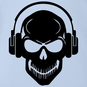 Skull with Headphones - Rave - Electro - Hardstyle Tee shirts - Body bébé bio manches courtes