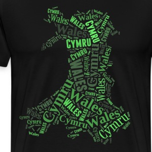 Wales Outline WordArt - Green - Men's Premium T-Shirt