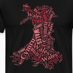 Wales Outline WordArt - Red