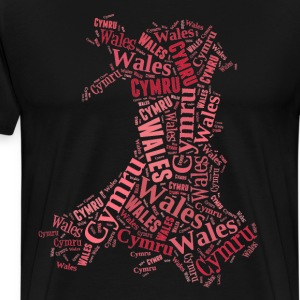 Wales Outline WordArt - Red - Men's Premium T-Shirt