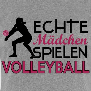 Real girls playing volleyball T-shirts - Dame premium T-shirt