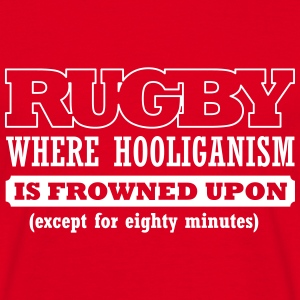 BRL Rugby  Slogan T-Shirt White on Red - Men's T-Shirt