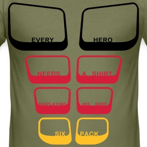 every hero needs a sixpack text 3 Color Vector T-Shirts - Men's Slim Fit T-Shirt