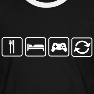 Eat Sleep Game Repeat Tee shirts - T-shirt contraste Homme