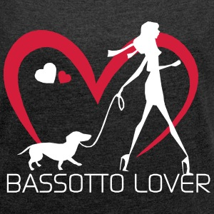 I love walking with my Bassotto Magliette - Maglietta da donna con risvolti