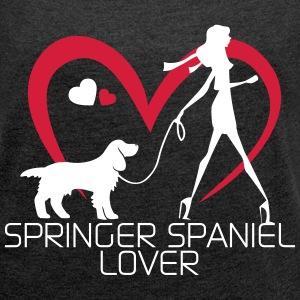 I love walking with my Springer Spaniel Magliette - Maglietta da donna con risvolti
