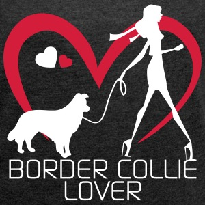 I love walking with my Border Collie Magliette - Maglietta da donna con risvolti