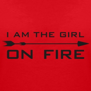 I am the girl on fire T-Shirts - Frauen T-Shirt mit V-Ausschnitt