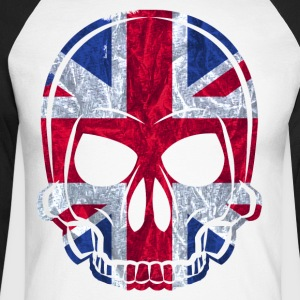 MMJ England Flag Skull / Skull Jackets & Vests - Men's Long Sleeve Baseball T-Shirt