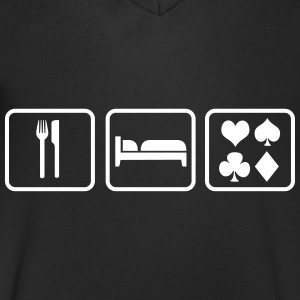 Eat Sleep Poker T-shirts - T-shirt med v-ringning herr