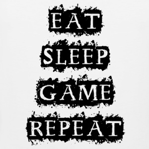 EAT SLEEP GAME REPEAT Tank Tops - Men's Premium Tank Top