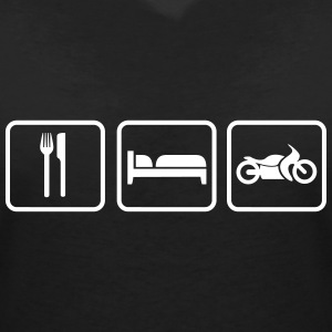 Eat Sleep Motorrad, Eat Sleep Bike Camisetas - Camiseta con escote en pico mujer