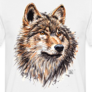 White Wolf Painting T-Shirts - Men's T-Shirt